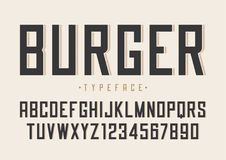 Burger διανυσματικό αναδρομικό κανονικό σχέδιο πηγών, αλφάβητο, χαρακτήρας, τύπος Στοκ φωτογραφία με δικαίωμα ελεύθερης χρήσης