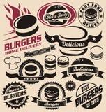 Burger εικονίδια, ετικέτες, σημάδια, σύμβολα και στοιχεία σχεδίου Στοκ Εικόνα