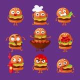 Burger εξανθρωπισμένο σύνολο αυτοκόλλητων ετικεττών Emoji χαρακτήρα σάντουιτς γρήγορου φαγητού κινούμενα σχέδια διανυσματικών απε διανυσματική απεικόνιση