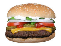burger θερινά λαχανικά σκιαγραφιών κήπων τυριών Στοκ Εικόνα