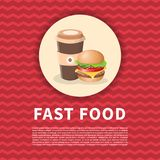 Burger και καφές για να πάει αφίσα Χαριτωμένη χρωματισμένη εικόνα του γρήγορου φαγητού Γραφικά στοιχεία σχεδίου για τις επιλογές, Στοκ εικόνα με δικαίωμα ελεύθερης χρήσης
