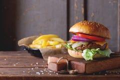 Burger και πατάτες Στοκ φωτογραφία με δικαίωμα ελεύθερης χρήσης