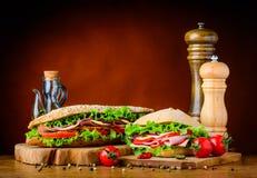 Burger και σάντουιτς με τα συστατικά Στοκ Εικόνα