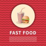 Burger και σόδας αφίσα φλυτζανιών Χαριτωμένη χρωματισμένη κινούμενα σχέδια εικόνα του γρήγορου φαγητού Στοιχεία σχεδίου επιλογών  Στοκ Εικόνες