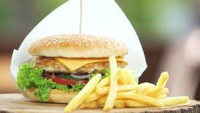 Burger και τα τηγανητά κλείνουν επάνω απόθεμα βίντεο