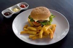 Burger και τηγανητά με το κέτσαπ στοκ φωτογραφίες με δικαίωμα ελεύθερης χρήσης