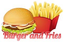 Burger και τηγανητά Στοκ Φωτογραφίες