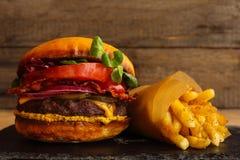 Burger και τηγανιτές πατάτες Στοκ Εικόνα