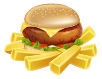 Burger και τσιπ ή τηγανιτές πατάτες Στοκ Εικόνα
