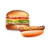 Burger και χοτ-ντογκ που απομονώνονται στο λευκό Στοκ φωτογραφία με δικαίωμα ελεύθερης χρήσης