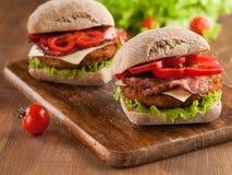 burger καυτός νόστιμος γρήγορου γεύματος κοτόπουλου Στοκ Εικόνα