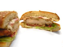 burger κοτόπουλο που τηγανίζεται στοκ εικόνα