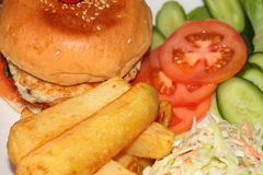 Burger κοτόπουλου γεύμα Στοκ Εικόνες