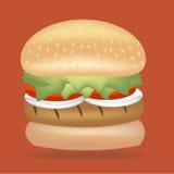 Burger κοτόπουλου διάνυσμα ντοματών κρεμμυδιών μαρουλιού Στοκ εικόνες με δικαίωμα ελεύθερης χρήσης
