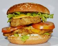 Burger κοτόπουλου - μεγάλο juicy burger στο άσπρο υπόβαθρο - Rounders Στοκ φωτογραφία με δικαίωμα ελεύθερης χρήσης
