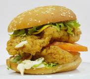 Burger κοτόπουλου - μεγάλο juicy burger στο άσπρο υπόβαθρο - Rounders Στοκ Εικόνα