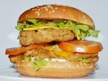 Burger κοτόπουλου - μεγάλο juicy burger στο άσπρο υπόβαθρο - Rounders Στοκ Φωτογραφίες