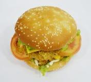 Burger κοτόπουλου - μεγάλο juicy burger στο άσπρο υπόβαθρο - Rounders Στοκ Φωτογραφία