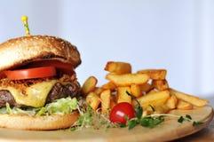 Burger κρέατος με τα τηγανητά Στοκ Εικόνες