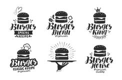 Burger, λογότυπο γρήγορου φαγητού ή εικονίδιο, έμβλημα Ετικέτα για το εστιατόριο ή τον καφέ σχεδίου επιλογών Γράφοντας διανυσματι Στοκ Εικόνα
