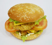 Burger - μεγάλο juicy burger στο άσπρο υπόβαθρο - Rounders Στοκ φωτογραφία με δικαίωμα ελεύθερης χρήσης