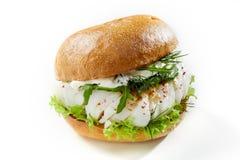Burger με τα ψάρια βακαλάων στο άσπρο κλίμα στοκ φωτογραφία με δικαίωμα ελεύθερης χρήσης