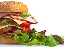Burger με τη σαλάτα που απομονώνεται στο άσπρο υπόβαθρο Στοκ Εικόνες