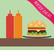 Burger με το κέτσαπ και τη μουστάρδα Στοκ εικόνες με δικαίωμα ελεύθερης χρήσης