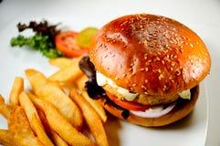 burger μπριζόλα τηγανητών κοτόπουλου Στοκ Φωτογραφίες