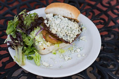 Burger μπλε τυριών λουξ Στοκ φωτογραφία με δικαίωμα ελεύθερης χρήσης