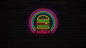 Burger νέου σημάδι που ανοίγει και που αναβοσβήνει στο τουβλότοιχο grunge διανυσματική απεικόνιση