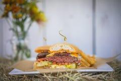 Burger που κόβεται στο μισό σε έναν σωρό σανού Στοκ Εικόνα