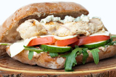 Burger σάντουιτς κοτόπουλου σίτου, τηγανισμένες πατάτες, σάλτσα μουστάρδας SE Στοκ φωτογραφίες με δικαίωμα ελεύθερης χρήσης