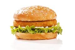 Burger σε ένα κουλούρι Στοκ Φωτογραφία