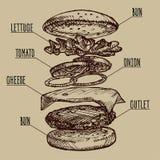 Burger σκίτσων από τα στρώματα Διανυσματική απεικόνιση