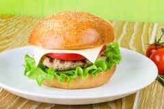 Burger στο άσπρο πιάτο Στοκ φωτογραφία με δικαίωμα ελεύθερης χρήσης