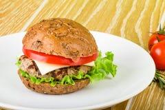 Burger στο άσπρο πιάτο Στοκ Εικόνες