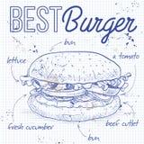 Burger συνταγή σε μια σελίδα σημειωματάριων απεικόνιση αποθεμάτων