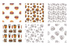 Burger συρμένο χέρι άνευ ραφής διανυσματικό σχέδιο Στοκ φωτογραφίες με δικαίωμα ελεύθερης χρήσης