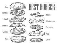 Burger συστατικά Διανυσματική εκλεκτής ποιότητας απεικόνιση χάραξης για την αφίσα, επιλογές, Ιστός, έμβλημα, πληροφορίες γραφικές ελεύθερη απεικόνιση δικαιώματος