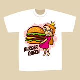 Burger σχεδίου τυπωμένων υλών μπλουζών βασίλισσα Στοκ Εικόνα