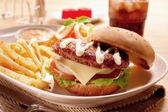 Burger σύνολο Στοκ Φωτογραφίες