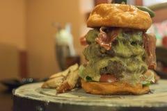 Burger τυριών βόειου κρέατος που εξυπηρετείται με τις τηγανιτές πατάτες Στοκ Εικόνες