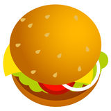 Burger. Illustration of Cheese Burger with ingredients Royalty Free Stock Image
