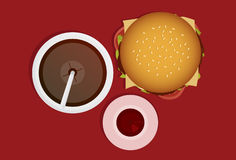Burger. Sauce, and soft drink viewed from the top Stock Photos