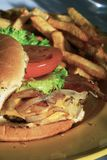 Burger. Delicious burger with tomato, lettuce, onion and frenchfries Royalty Free Stock Photos