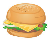 Burger. Illustration of a burger on white Royalty Free Stock Photo