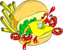 Burger. A funny pic of a hamburger . It can be used as a logo,for banners, web based worksand much more.It can be a great t-shirt design too. Also available as royalty free illustration