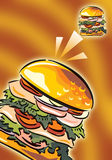Burger. Hot burger, on bright yellow ground Stock Image