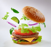 Burger. Tasty big burger close up stock image